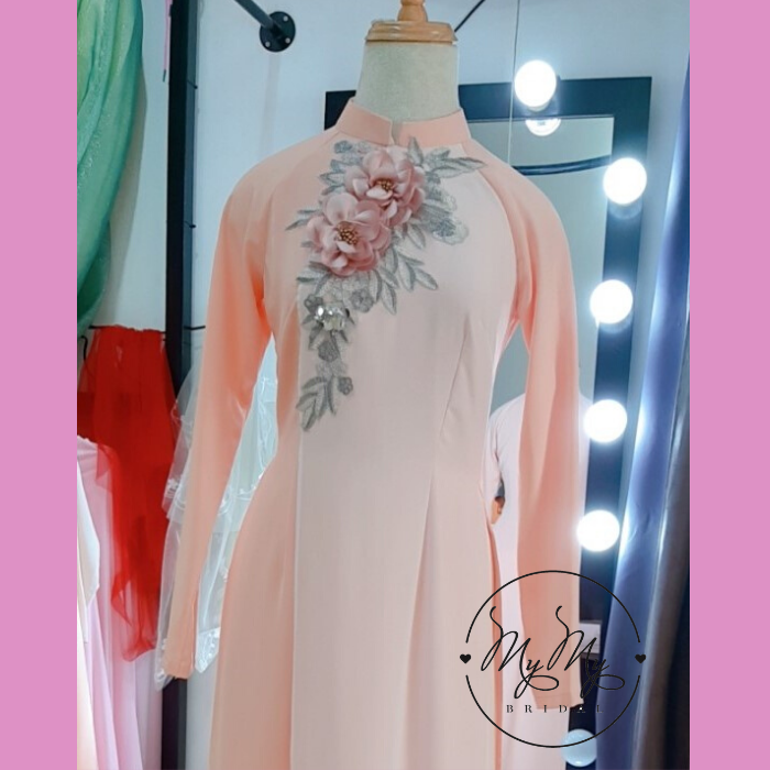 Áo dài bưng quả hồng 3 tà kết hoa - cho thuê áo dài bưng quả Gò Vấp