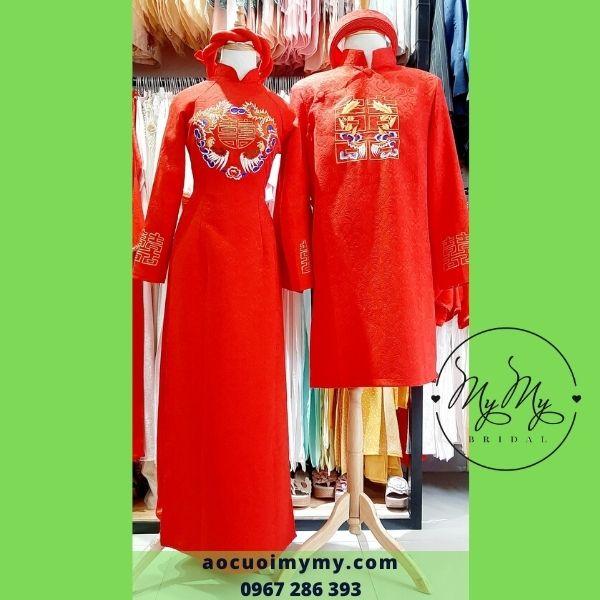 Áo dài cặp cô dâu chú rể chất liệu gấm đỏ thêu chữ song hỷ- Áo cưới MyMy bán, cho thuê áo dài cưới rẻ đẹp