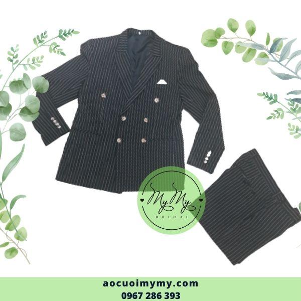Áo vest chù rể  sọc xanh 6 nút