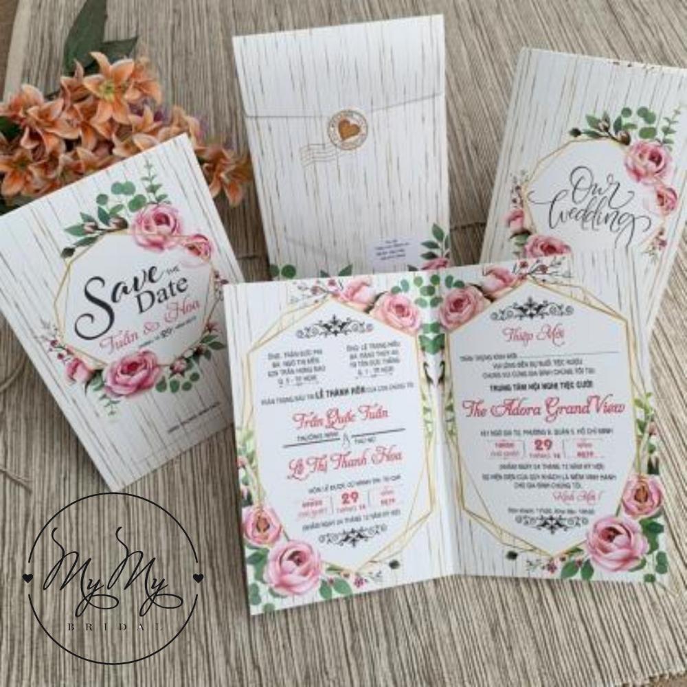Thiêp cưới thiết kế hoa hồng leo đơn giản - thiệp cưới My My