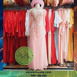 Áo dài cô dâu Voan hồng kết hoa