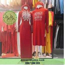 Áo dài Nhung đỏ kết hạt pha lê
