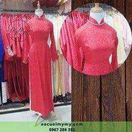 Áo dài cô dâu Gấm đỏ kết hạt chai
