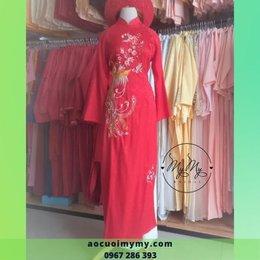 Áo dài cô dâu gấm đỏ