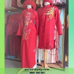 Áo cưới cặp gấm đỏ thêu chim