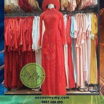 Áo dài cô dâu Ren đỏ kết hoa sen