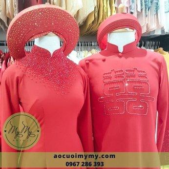 Áo dài cặp đỏ bung chai