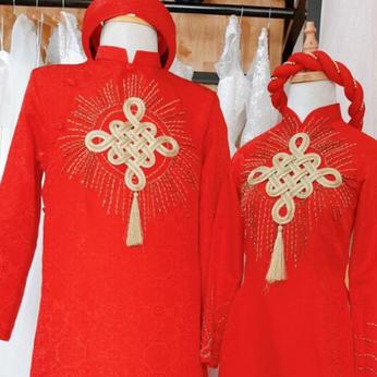 Áo dài cô dâu chù rể Gấm đỏ đính hoa văn - Cho thuê / bán