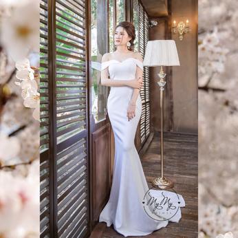 Áo cưới My My Thiết kế trắng cúp ngực tay rớt vai