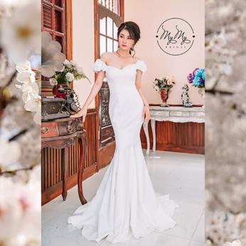 Áo cưới thiết kế trắng cúp ngực tay rớt vai đuôi cá - Áo cưới My My
