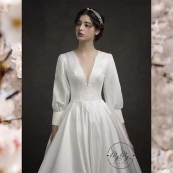 Áo cưới tay lỡ cổ tim đuôi dài - Luxury (Trắng)