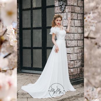 Áo cưới My My Thiết kế trắng bèo vai xoè sang trọng