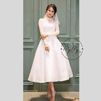 Đầm cưới thiết kế phong cách kiểu Hàn Quốc (Trắng) - Váy cưới đi bàn cho cô dâu