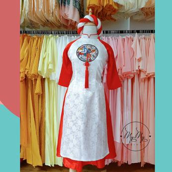 Áo dài bê quả cách tân màu trắng phối tay đỏ - cho thuê áo dài bê quả rẻ