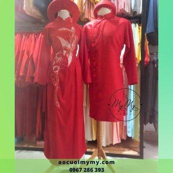 Áo dài cặp thêu chim hạt  gấm đỏ