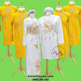 Áo dài cặp cô dâu chú rể Gấm Trắng kết hạt vàng