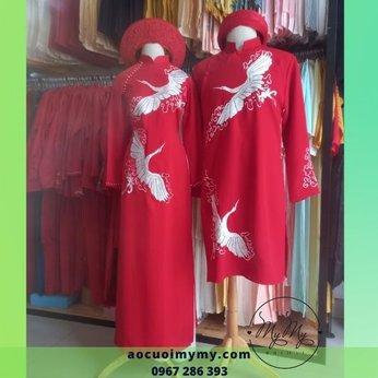 Áo dài cặp đỏ thêu đôi chim hạt
