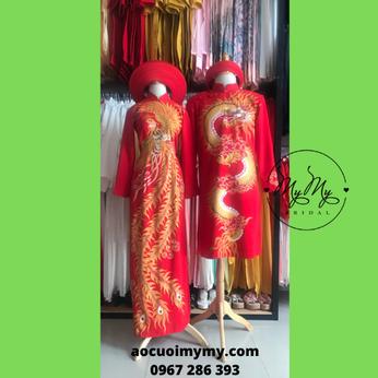 Áo dài cặp cô dâu chú rể vẽ rồng phụng