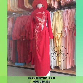 Áo dài cô dâu thêu chim hạt Gấm đỏ