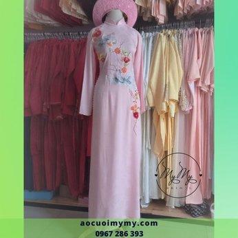 Áo dài cưới gấm hồng thêu chim hạt