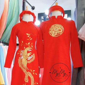 Áo dài cặp Gấm đỏ thêu rồng phụng - cho thuê áo dài cặp cô dâu chú rể