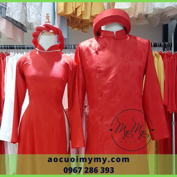Áo dài cặp cô dâu chú rể Gấm đỏ