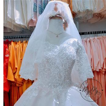 <Cho thuê/bán> Soiree cưới  hồng nhạt kết cườm có tay trễ vai