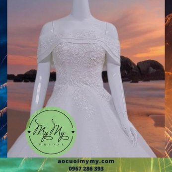 Váy cưới trể vai Trắng