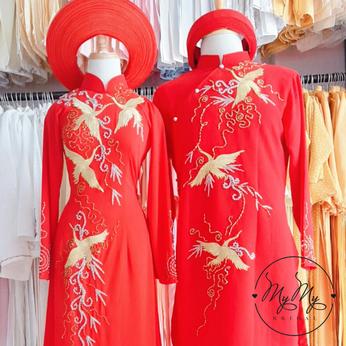 Áo dài  cặp cô dâu chú rể gấm đỏ kết hạt vàng  sang trọng
