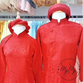 Áo dài cưới cô dâu chù rể gấm đỏ đính nút cách điệu - Cho thuê / bán