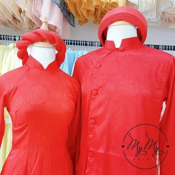 Áo dài cặp cô dâu chủ rể gấm đỏ đơn giản - Cho thuê / bán