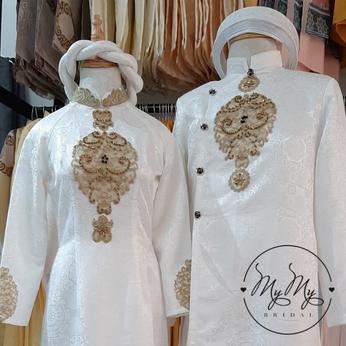 Áo dài cưới cô dâu chú rể  gấm trắng kết hoa văn - Cho thuê / bán