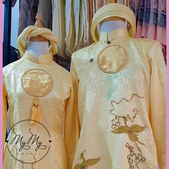 Áo dài cặp Cô Dâu - Chú Rể màu vàng thêu chim hạt - Cho thuê / bán
