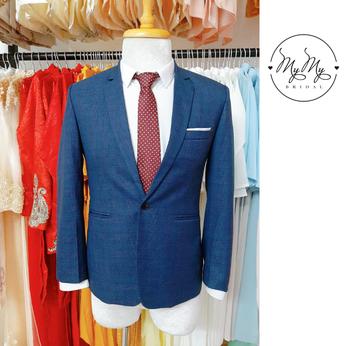 Áo vest chú rể xanh dương hoa văn chìm - Dịch vụ cho thuê bán áo vest chú rể Gò Vấp