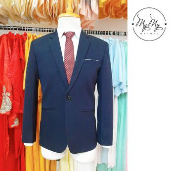 Áo vest chú rể màu xanh Nauy