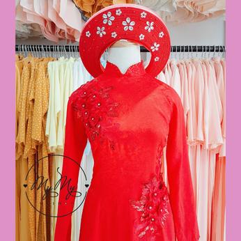 Áo dài cô dâu màu đỏ kết hoa- Dịch vụ cho thêu áo dài cưới