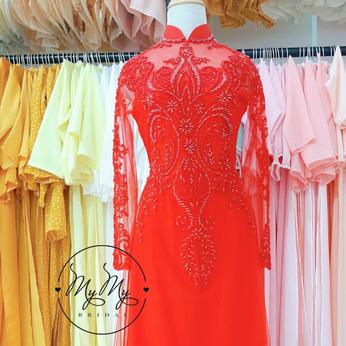 Áo dài cô dâu màu đỏ đính hạt trai -  Dịch vụ cho thuê áo dài cưới cô dâu