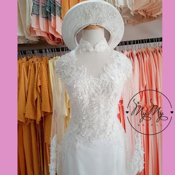 Áo dài cô dâu màu trắng đính hạt trai -  Dịch vụ cho thêu áo dài cưới