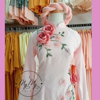 Áo dài đám hỏi màu hồng đính hoa -  Dịch vụ cho thuê áo dài cưới
