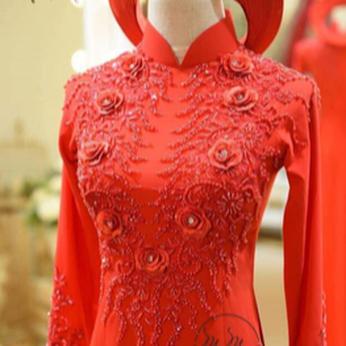 Áo dài my my  mẫu kết hoa hồng đỏ