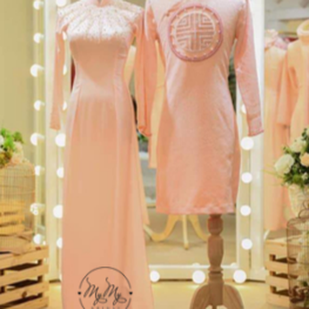 Áo cô dâu chú rể hồng thêu hoa văn - áo dài  my my