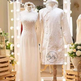 Áo dài cô dâu chú rể trắng đính kim sa - áo dài  my my