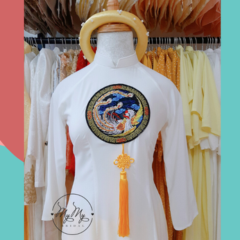 Áo dài bưng quả trắng kết hoạ tiết phượng - Cho thuê áo dài bê quả Gò Vấp