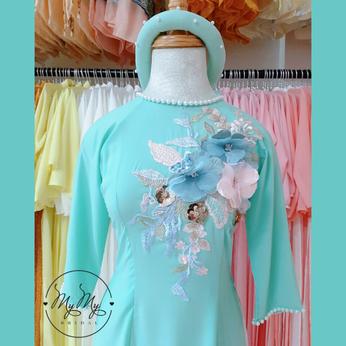 Áo dài bê quả xanh ngọc đính hoa -  cho thuê áo dài bưng quả Gò Vấp