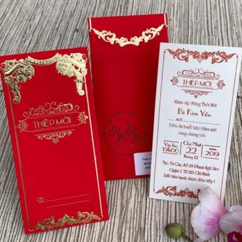 Thiêp cưới my my thiết kế màu đỏ  Hoa văn