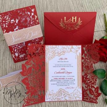 Thiêp cưới màu đỏ cắt hoa  sáng tạo - DQ2027