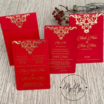 Thiêp cưới thiết kế  màu đỏ tươi in nhủ - DQ2019