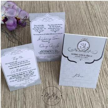 Thiêp cưới my my thiết kế trắng bạc - DQ2014