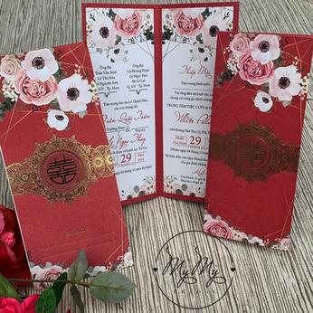 Thiêp cưới thiết kế  màu đỏ có hình hoa- thiệp cưới My My
