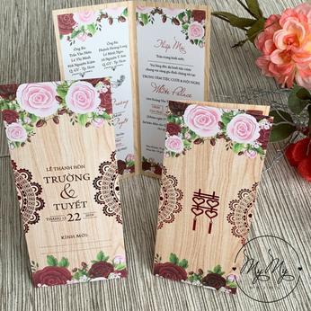 Thiêp cưới màu gỗ có hình hoa hồng- DQ2001